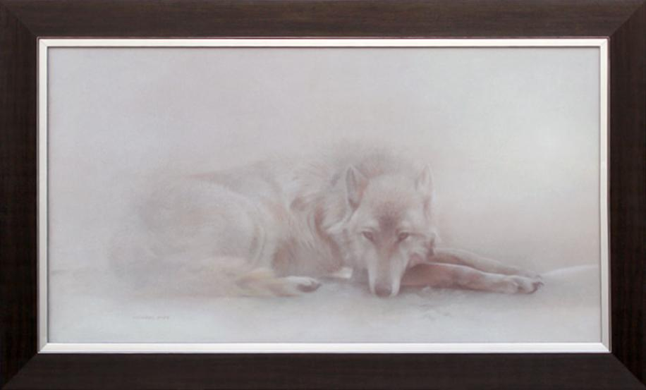 Arctic Ghost - Arctic Wolf, original acrylic wildlife painting on masonite is sold.  Open edition giclée wildlife prints are available by Canadian wildlife artist Michael Pape.