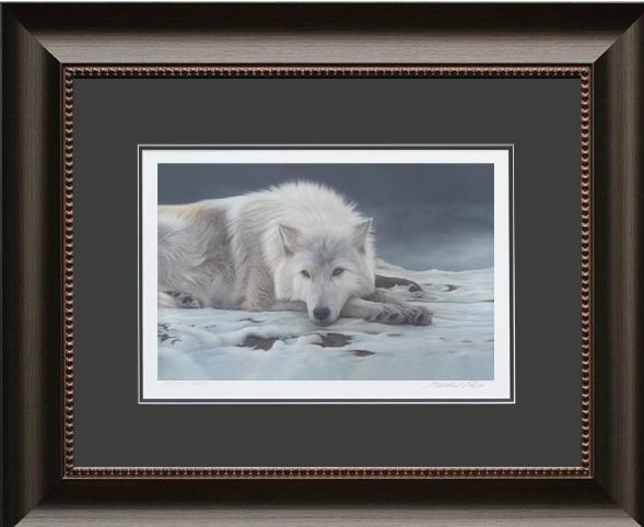 Beautiful Dreamer - Arctic Wolf, Framed Giclée Paper by Canadian Wildlife Artist Michael Pape