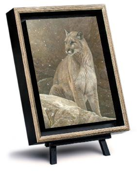ajestic Peace - Cougar, by Canadian Wildlife Artist Michael Pape. Original Acrylic Painting on Masonite is Sold. Exclusive Limited Edition Giclée Canvas Print is available by visiting www.theartofmichaelpape.com