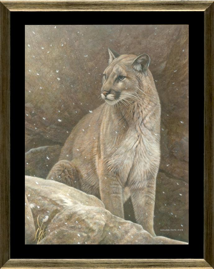 Majestic Peace - Cougar, original acrylic on Masonite wildlife painting is available.  Limited edition giclée wildlife prints on canvas are also available.