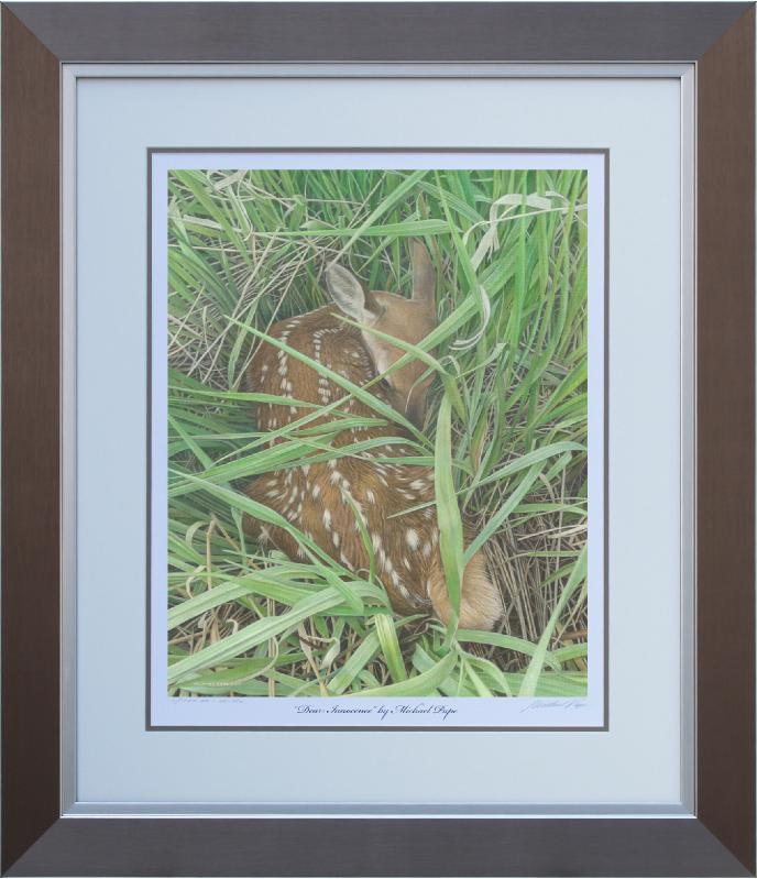 Dear Innocence, original acrylic on canvas wildlife painting is sold.  Limited edition giclée wildlife prints on paper & canvas in three sizes are available by Canadian wildlife artist Michael Pape.