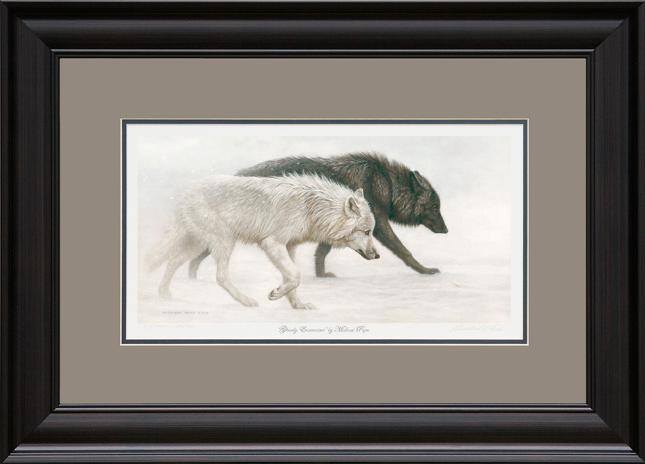Ghostly Encounter - Grey Wolves, original acrylic on canvas wildlife painting is available.  Limited edition giclée wildlife prints on paper and canvas are available by Canadian wildlife artist Michael Pape.