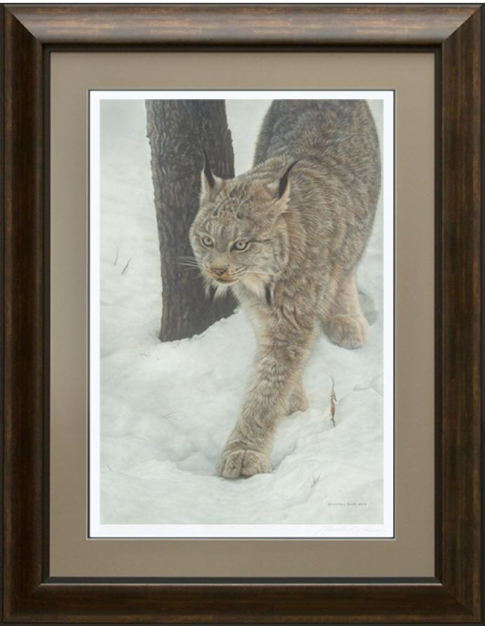 Keeper of Secrets - Canadian Lynx, original wildlife painting is sold. Limited edition giclée wildlife prints on paper & canvas in three sizes are available by Canadian wildlife artist Michael Pape.