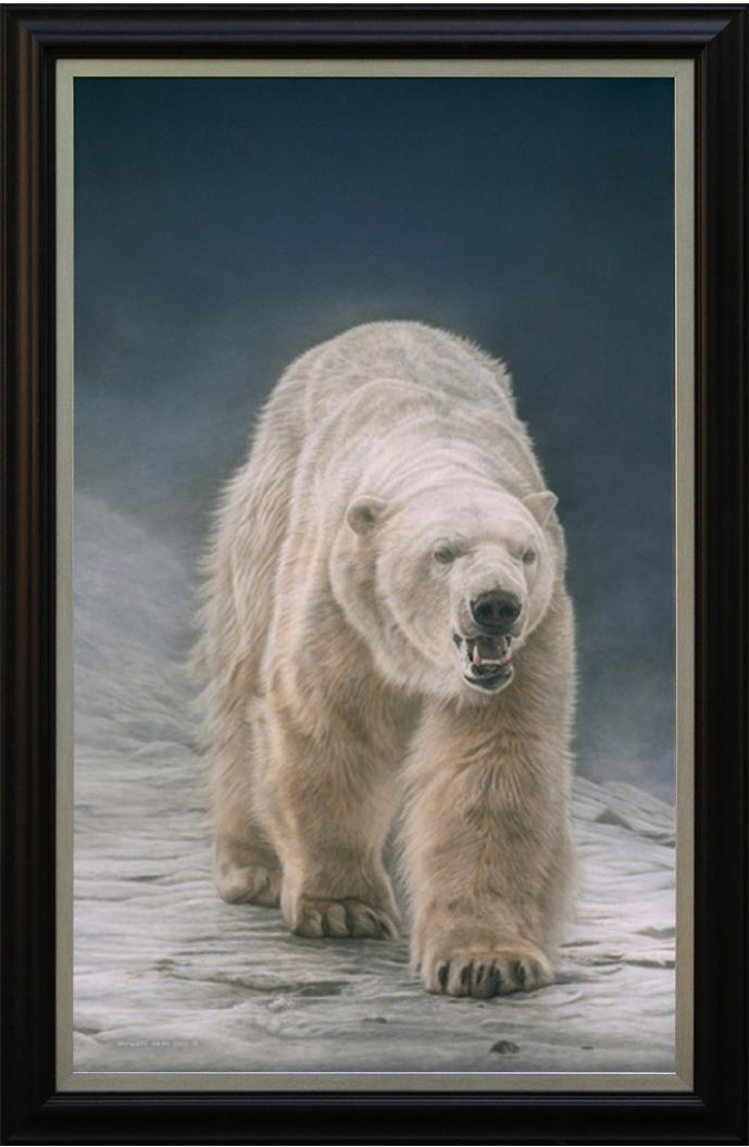 "On Thin Ice - Polar Bear, original wildlife painting is sold. Limited edition giclée wildlife prints on paper & canvas in three sizes are available by Canadian wildlife artist Michael Pape including this 36"" x 60"" giclée canvas."