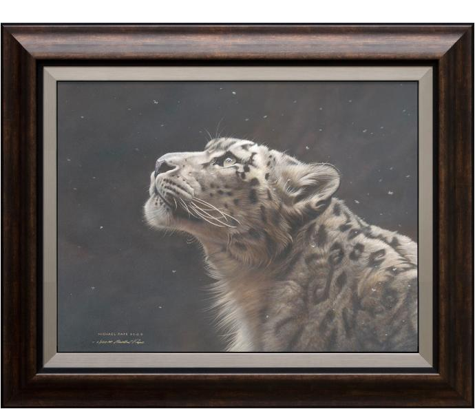 Silence Speaks – Snow Leopard, framed limited edition giclée wildlife prints on canvas are available by Canadian wildlife artist Michael Pape.