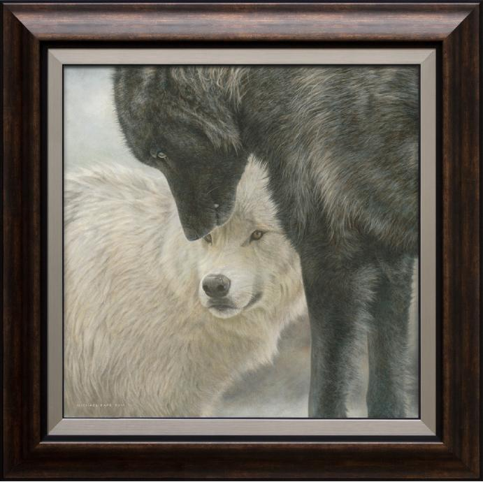 Strength & Wisdom - Grey Wolves, large framed limited edition giclée wildlife print on canvas is available by Canadian wildlife artist Michael Pape.