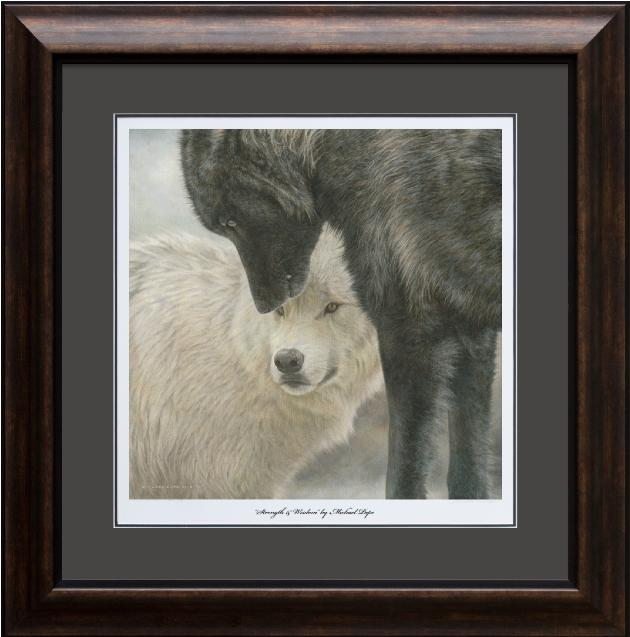 Strength & Wisdom - Grey Wolves, large framed limited edition giclée wildlife print on water colour paper is available by Canadian wildlife artist Michael Pape.