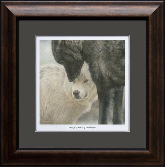 Strength & Wisdom - Grey Wolves, small limited edition giclée wildlife print on watercolour paper is available by Canadian wildlife artist Michael Pape.